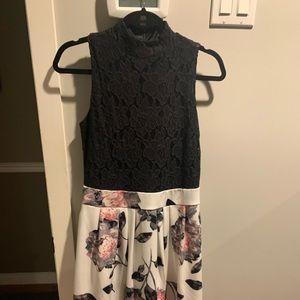 Black lace halter floral bottom dress